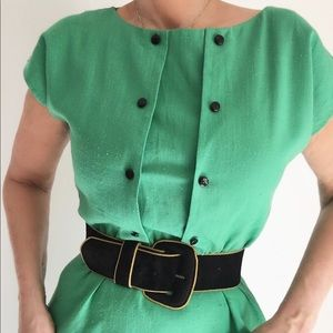 Vintage Green Pleated Buttoned Day Dress